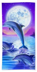 Day Of The Dolphin Hand Towel by Robin Koni