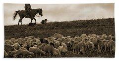 Days End Sheep Herding Bath Towel