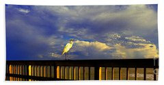 Daytona Beach Fl Bird Sun Glow Pier  Bath Towel by Tom Jelen