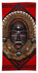 Dean Gle Mask By Dan People Of The Ivory Coast And Liberia On Red Leather Hand Towel
