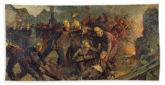 Death Of Lt. Col. Froidevaux 1850-87 Of The Paris Fire Brigade, 1887 Oil On Canvas Bath Towel