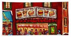 Decarie Hot Dog Restaurant Cosmix Comic Store Montreal Paintings Hockey Art Winter Scenes C Spandau Bath Towel