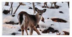 Deer And Snow Hand Towel