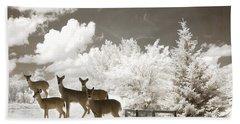Deer Nature Winter - Surreal Nature Deer Winter Snow Landscape Hand Towel by Kathy Fornal