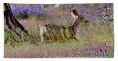 Deer In The Meadow Bath Towel by Debby Pueschel