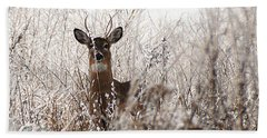 Deer In Winter Bath Towel