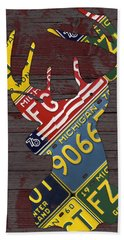 Deer With Antlers Michigan Recycled License Plate Art Hand Towel