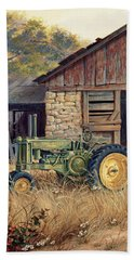 Hand Towel featuring the painting Deere Country by Michael Humphries