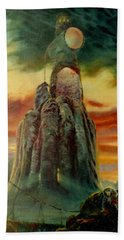 Hand Towel featuring the painting Defenders Of Rocky Desert by Henryk Gorecki