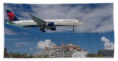 Delta Air Lines Landing At St. Maarten Bath Towel by David Gleeson