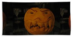 Bath Towel featuring the sculpture Demented Mister Ullman Pumpkin 3 by Shawn Dall