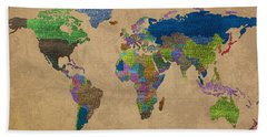 Denim Map Of The World Jeans Texture On Worn Canvas Paper Hand Towel