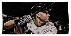 Derek Jeter On Canvas Hand Towel
