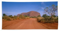 Desert Road And Ayers Rock, Australia Bath Towel