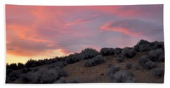 Bath Towel featuring the photograph Desert Sunset by AJ  Schibig