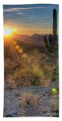 Desert Sunset Hand Towel by Eddie Yerkish