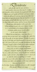 Desiderata Gold Bond Scrolled Bath Towel by Movie Poster Prints