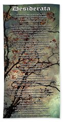 Desiderata Inspiration Over Old Textured Tree Hand Towel