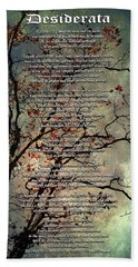 Desiderata Inspiration Over Old Textured Tree Hand Towel by Christina Rollo
