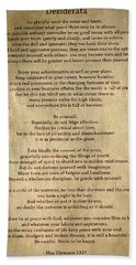 Desiderata - Scrubbed Metal Hand Towel by Paulette B Wright