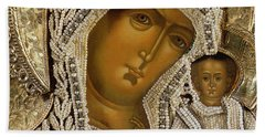 Detail Of An Icon Showing The Virgin Of Kazan By Yegor Petrov Hand Towel