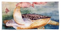 Hand Towel featuring the painting Determined - Loggerhead Sea Turtle by Roxanne Tobaison
