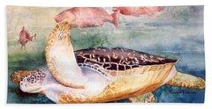 Determined - Loggerhead Sea Turtle Hand Towel by Roxanne Tobaison