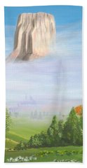 Hand Towel featuring the painting Devil's Tower  by Phyllis Kaltenbach