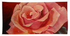 Hand Towel featuring the painting Dew Drops On Pink Rose by Jenny Lee