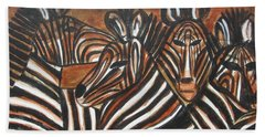 Hand Towel featuring the painting Zebra Bar Crowd by Diane Pape