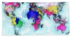 Digital Art Map Of The World Bath Towel