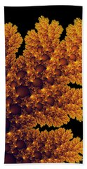 Digital Warm Golden Fractal Leaf Black Background Bath Towel