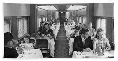Diners In Railroad Dining Car Bath Towel