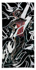 Bath Towel featuring the painting Dinka Dance by Gloria Ssali
