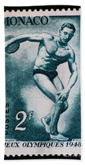 Discus Vintage Postage Stamp Print Bath Towel by Andy Prendy