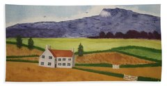 Bath Towel featuring the painting Distant Hills by John Williams
