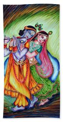 Hand Towel featuring the painting Divine Lovers by Harsh Malik
