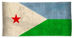 Djibouti Flag Vintage Distressed Finish Bath Towel