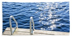 Dock On Summer Lake With Sparkling Water Hand Towel