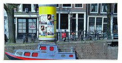 Bath Towel featuring the photograph Docked In Amsterdam by Allen Beatty