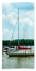 Bath Towel featuring the photograph Docked On The Hudson River by Susan Savad