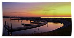 Docks At Sunrise Hand Towel by Jonah  Anderson
