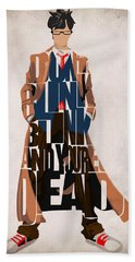 Doctor Who Inspired Tenth Doctor's Typographic Artwork Bath Towel
