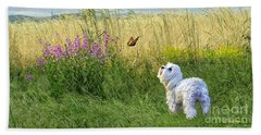 Dog And Butterfly Hand Towel