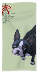 Dog With Mistletoe For Christmas Cards Hand Towel