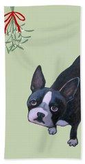 Dog With Mistletoe For Christmas Cards Bath Towel