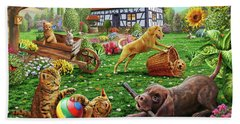 Dogs And Cats At Play Bath Towel