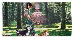 Dogs Lay At Her Feet Hand Towel by Steve Karol