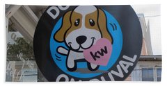 Dogs On Duval Hand Towel by Fiona Kennard