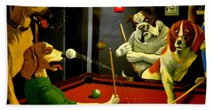 Dogs Playing Pool Wall Art Unknown Painter Hand Towel by Kathy Barney